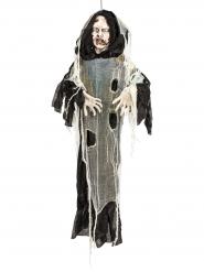 Schauriger Fetzen-Zombie Halloween-Hängedeko schwarz-grau 150cm
