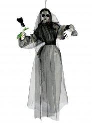 Geisterbraut Horror-Puppe Halloween-Hängedeko schwarz-weiss 90cm