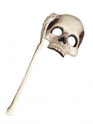 Totenschädel Halloween-Augenmaske mit Stab Skull weiss