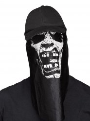 Zombie Halloween-Basecap mit Maske schwarz-weiss