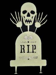Skelett mit Grabstein nachtleuchtend Halloween-Gartendeko weiss 48x33cm