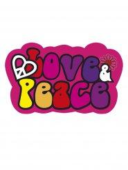 70er Deko-Schild Love and Peace Party-Deko bunt 52x32cm