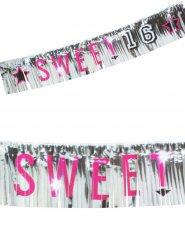 16. Geburtstag Fransen-Girlande Party-Deko schwarz-silber-pink 150x25cm