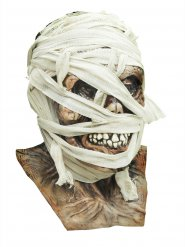 Zombie-Mumie Halloween Latex-Maske Untoter beige-weiss