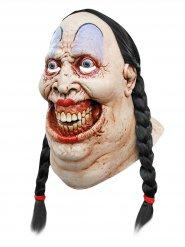 Grinsendes Mädchen Halloween Latex-Maske mit Zöpfen hautfarben-bunt
