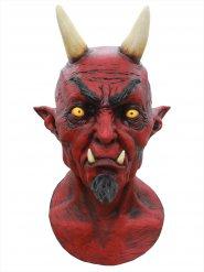 Höllischer Teufel Halloween Latex-Maske Dämon Deluxe rot-schwarz