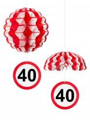 40. Geburtstag Waben-Partydeko weiss-rot 25cm