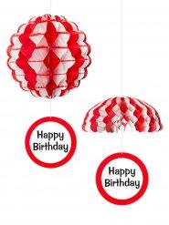 Happy Birthday Waben-Hänger Geburtstag-Partydeko weiss-rot 25cm