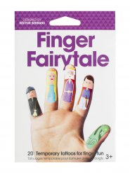 Lustige Märchenfiguren Finger-Tattoos 20 Stück bunt