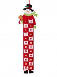 Schneemann Filz-Adventskalender Weihnachtsdeko rot-weiss-schwarz 90x26cm