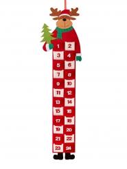 Rentier Filz-Adventskalender Weihnachtsdeko braun-rot-weiss 90x26cm