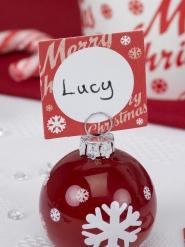 Merry Christmas Platzkarten Weihnachtsdeko 10 Stück rot-weiss 7x5cm