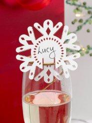 Schneeflocke Glas-Markierer 10 Stück Weihnachtsdeko weiss 7,5x7,5cm