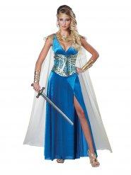 Mittelalter Kriegerin Damenkostüm blau-gold