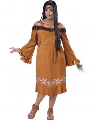 Western Indianerin Plus Size Damenkostüm Wildwest braun-bunt