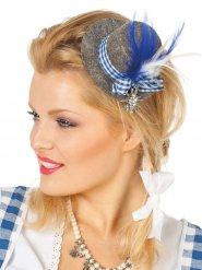 Mini-Trachtenhut mit Federn Damentracht grau-blau