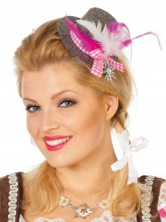 Mini-Trachtenhut mit Federn Damentracht grau-rosa