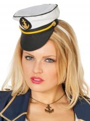 Mini-Hut Kapitänsmütze weiss-schwarz