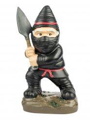 Ninja Gartenzwerg Deko-Figur schwarz-bunt 9x13x23cm