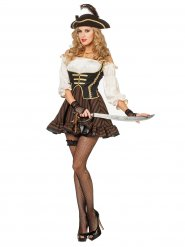 Sexy Piratin Damenkostüm Freibeuterin braun-creme-schwarz