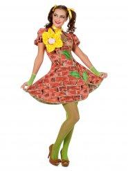 Mauerblümchen Damenkostüm rotbraun-gelb-grün