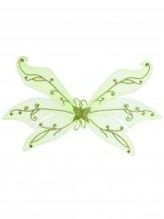 Grosse Feen-Flügel Elfe Glitzer hellgrün 106x72cm