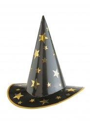 Hexe Zauberer Hut Sterne schwarz-gold