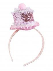 Cupcake Haarreif mit Glitzer Törtchen rosa