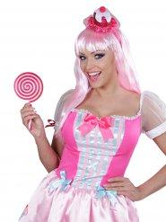 Lutscher Lolli Kostüm-Accessoire weiss-pink 22,5cm