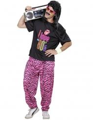 80er Jahre Kostüm Disco schwarz-pink