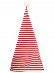 Schlafmütze Zipfelmütze mit Bommel rot-weiss