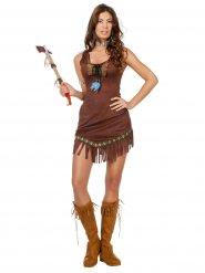 Heisse Indianerin Damenkostüm Wildwest dunkelbraun
