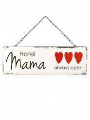 Hotel Mama Blechschild Muttertag weiss-schwarz-rot 45x15cm