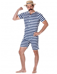 Retro Ringel-Badeanzug weiss-blau