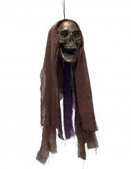 Gruseliger Totenschädel mit Leuchtaugen Halloween-Hängedeko grau-lila 90x22x20cm
