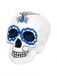 Tag der Toten Sugar Skull Totenschädel Halloween-Deko weiss-blau 18x15x16cm