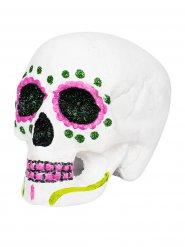 Tag der Toten Sugar Skull Totenschädel Halloween-Deko weiss-bunt 18x15x16cm