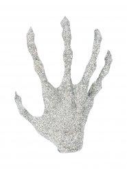 Abgehackte Glitzer-Hand Halloween-Deko silber 14x8x2,5cm