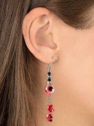 Lange Totenkopf-Anhänger Halloween-Ohrringe Augen rot-weiss 8x4x2cm