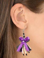 Halloween-Ohrringe mit Schleife, Skull und Skeletthänden weiss-lila 6,5x5x1cm