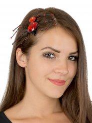 Spinnen-Haarclip Halloween-Haarschmuck rot-schwarz 13x6cm
