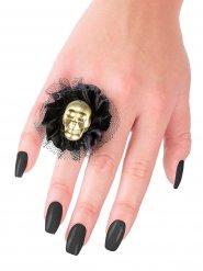 Halloween-Ring mit Schädel und Spitze schwarz-gold 5x5x2cm