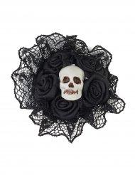 Halloween-Ring mit Schädel, Rosen und Spitze schwarz-silber 4x4x2cm