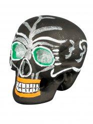 Tag der Toten Sugar Skull Totenschädel Halloween-Deko schwarz-silber 21x16x15cm