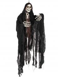 Schauriger Skelett-Sensenmann Halloween Hänge-Deko schwarz-weiss-braun 11x90x91cm
