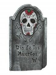 Schauriger Grabstein Skelett mit Leuchtaugen Halloween-Deko Friedhof grau-bunt 32x3x56cm
