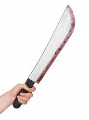 Blutverschmierte Machete Halloween-Waffe silber-schwarz-rot 42cm
