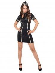 Sexy Stewardess Damenkostüm Flugbegleiterin schwarz-gold
