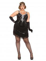 20er-Jahre Flapper Plus Size Damenkostüm Charleston schwarz-silber