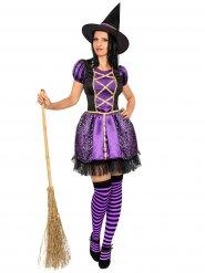 Magische Hexe Damenkostüm Zauberin lila-schwarz
